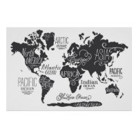 Whimsical World Map Poster