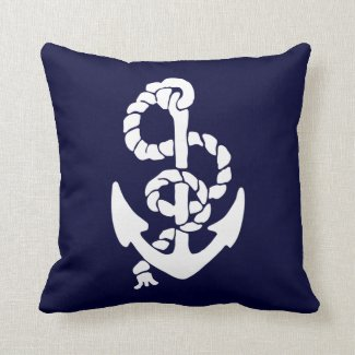White Anchor Red And Blue Background Cushion