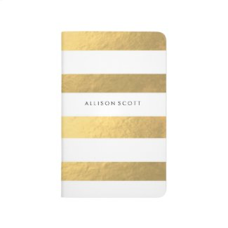 White And Gold Personalised Journal