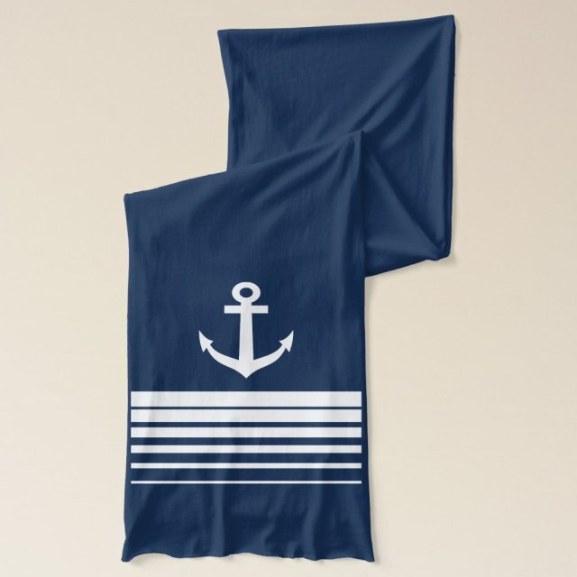 White and navy blue nautical ship anchor scarfs