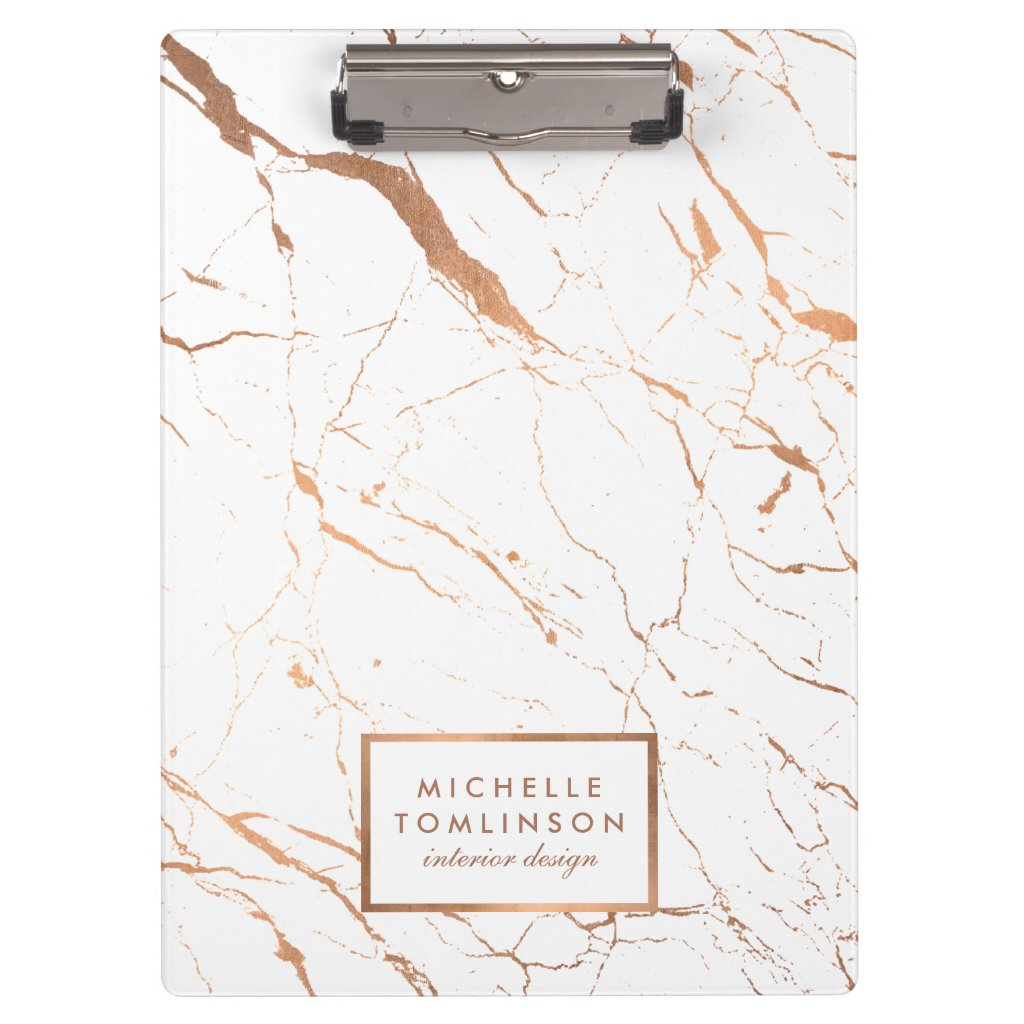 White and Rose Gold Marble Designer Personalised Clipboards