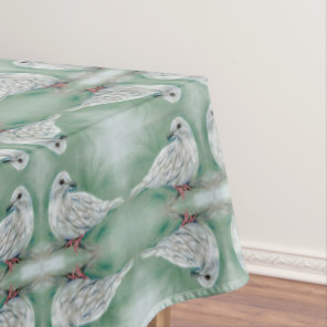 White Dove in the Pine Christmas Tablecloth