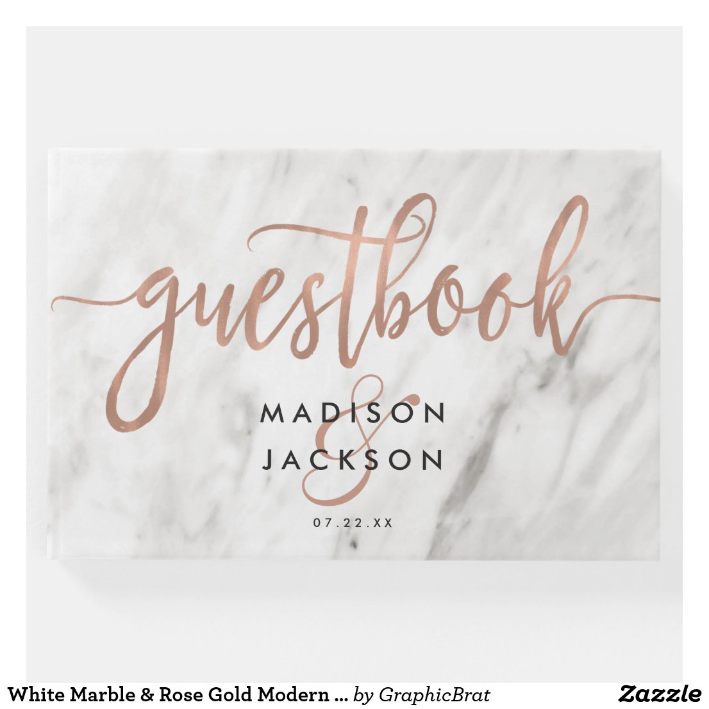 White Marble & Rose Gold Modern Wedding Monogram Guest Book