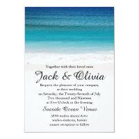 White Sand Ocean Beach Wedding Invitation