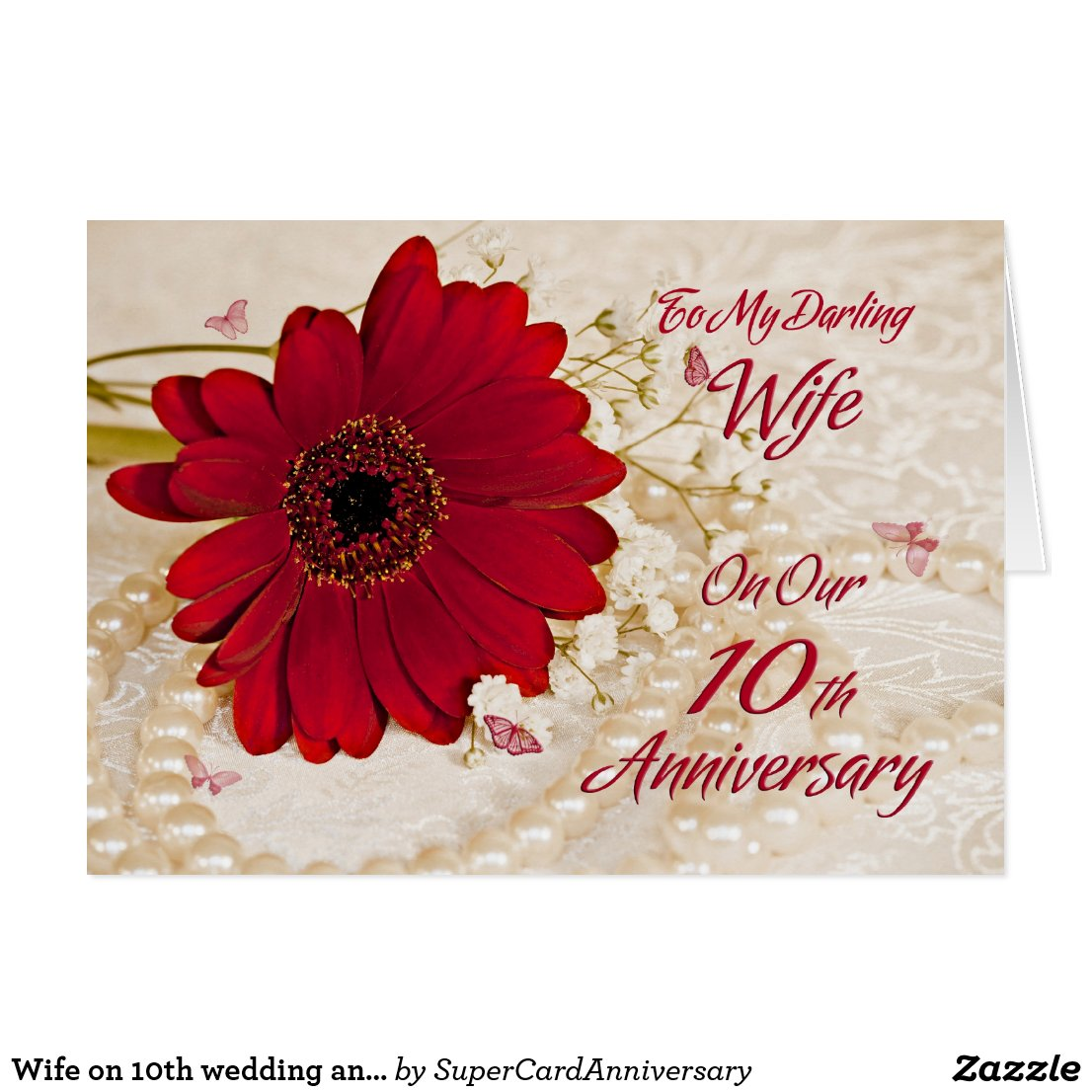 Wife 10th wedding anniversary card<