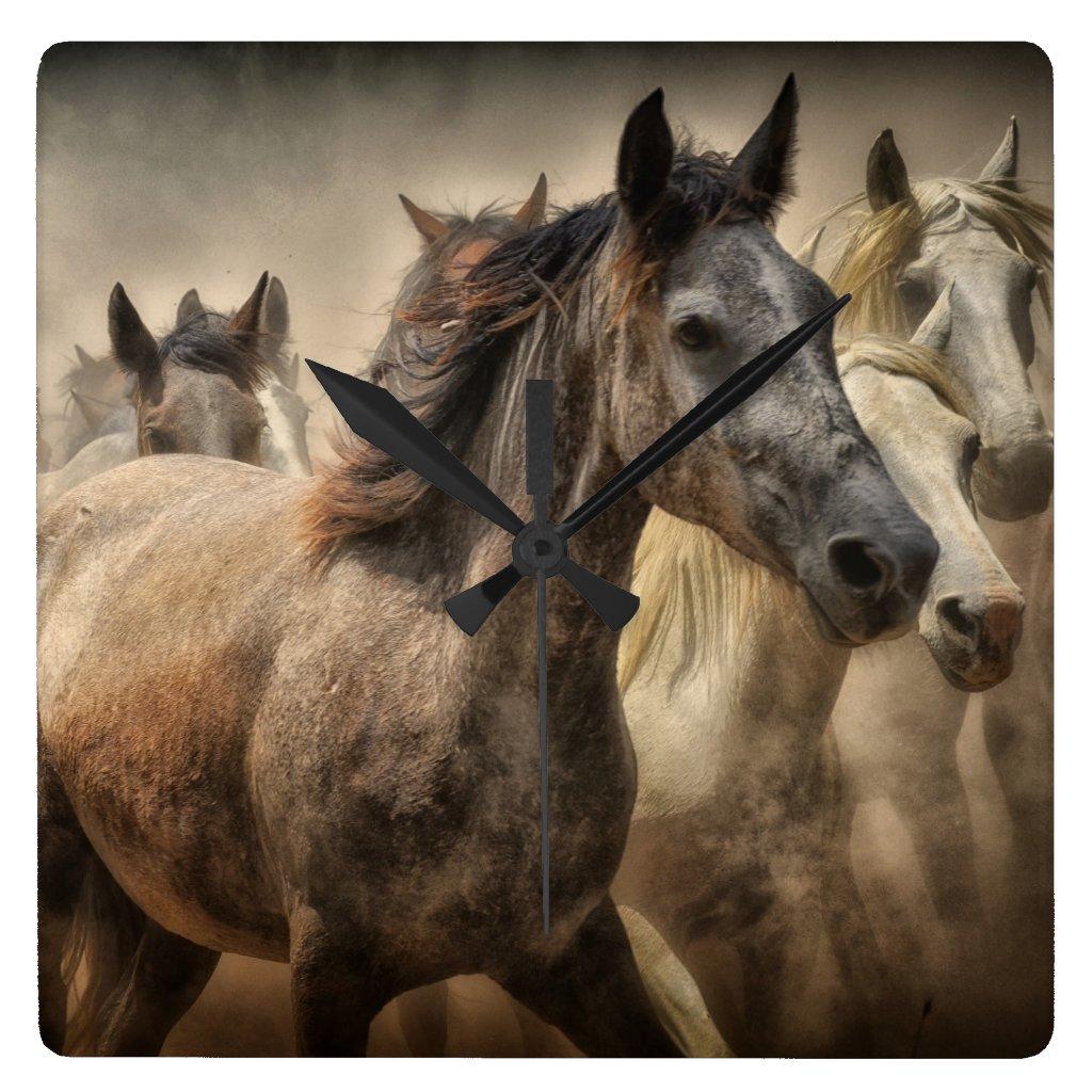 Wild Horses Square Wall Clock