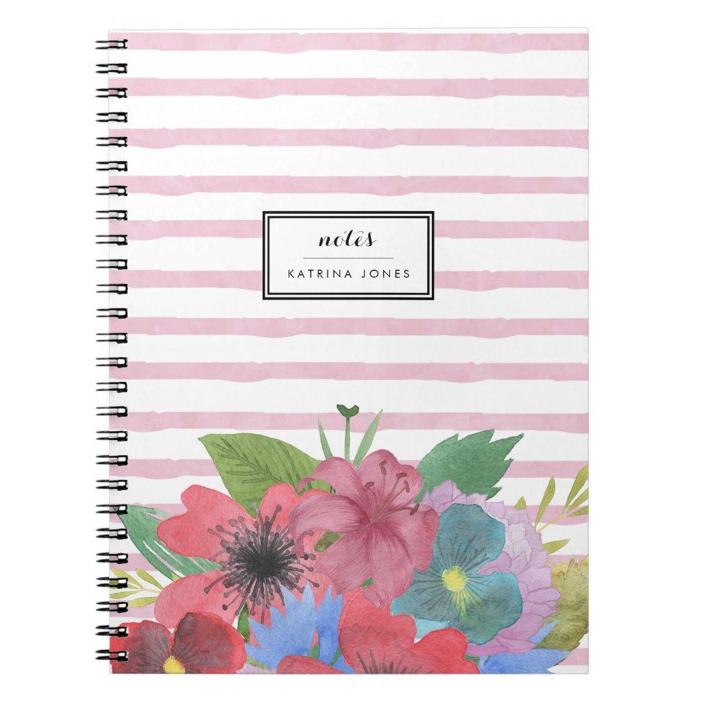 Wildflower Bouquet Watercolor Stripe Notebook