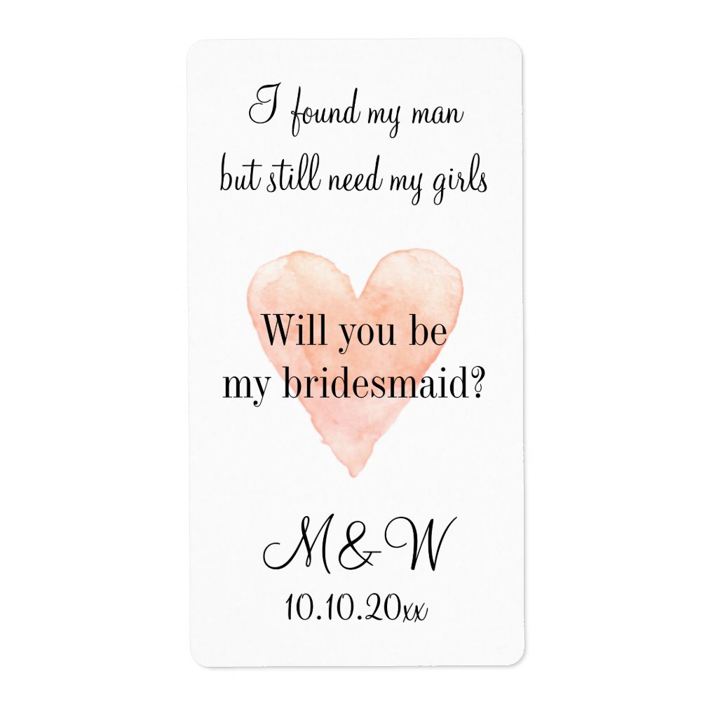 Will you be my bridesmaid chic wine bottle labels