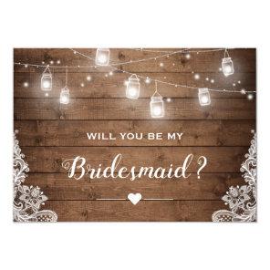 Will You Be My Bridesmaid Rustic Mason Jar Lights Invitation