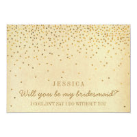 Will You Be My Bridesmaid? Vintage Gold Confetti Invitation Card