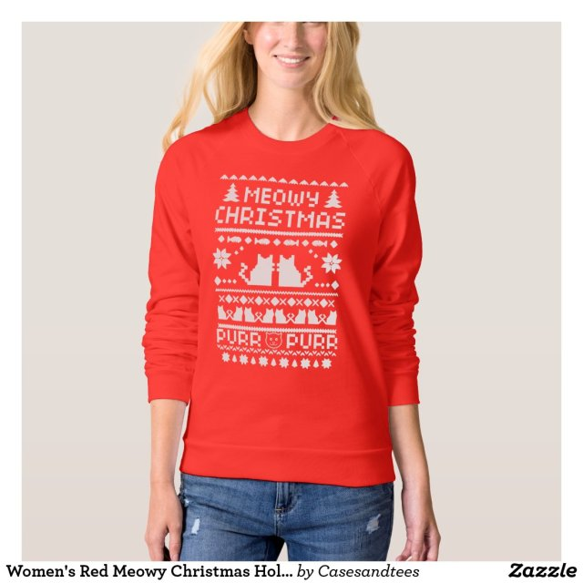 Women's Red Meowy Christmas Holiday Cat Sweater