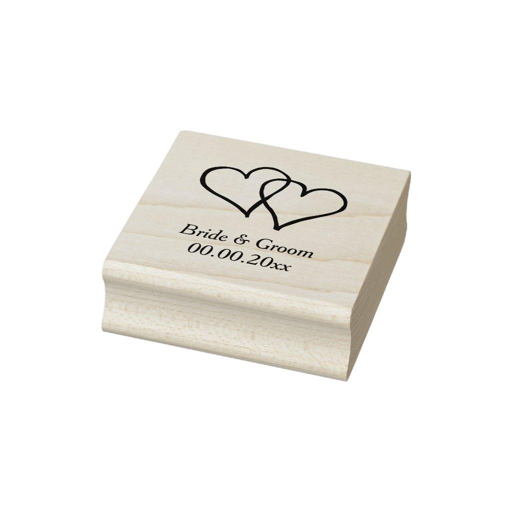 Wood art wedding stamp with interlocking hearts