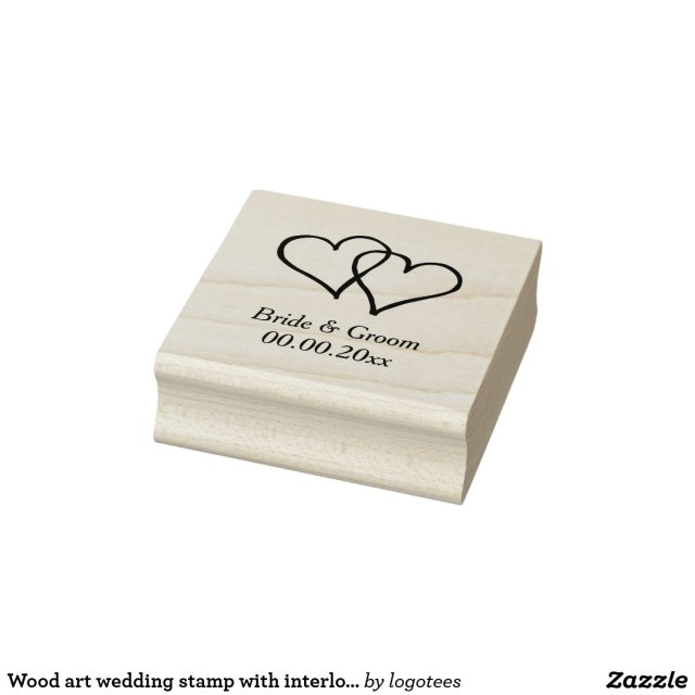 Wood art wedding stamp with interlocking hearts