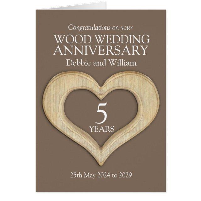 Wood heart 5th wedding anniversary names card