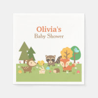 Woodland Animal Themed Baby Shower Party Supplies Standard Cocktail Napkin