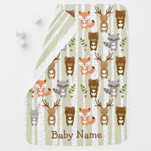 Woodland Forest Animal Baby Blanket