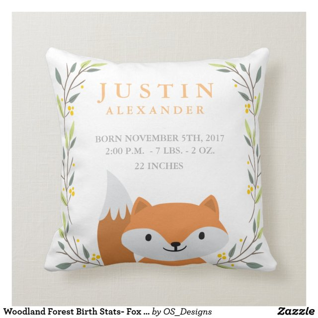 Woodland Forest Birth Stats- Fox Nursery Pillow