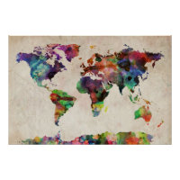 World Map Urban Watercolor Poster