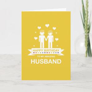 Yellow   Amazing Husband   Happy Birthday Card