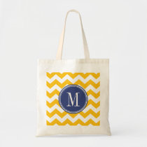 Yellow and Blue Chevron Pattern with Monogram Budget Tote Bag