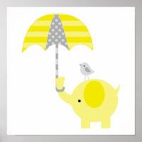 Elephant and Bird Nursery Poster
