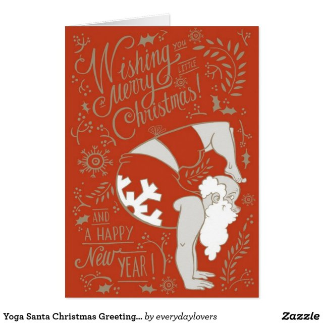 Yoga Santa Christmas Greeting Card