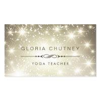 Yoga Teacher - Sparkling Bokeh Glitter Business Card