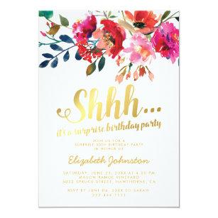 shhh surprise birthday invitations