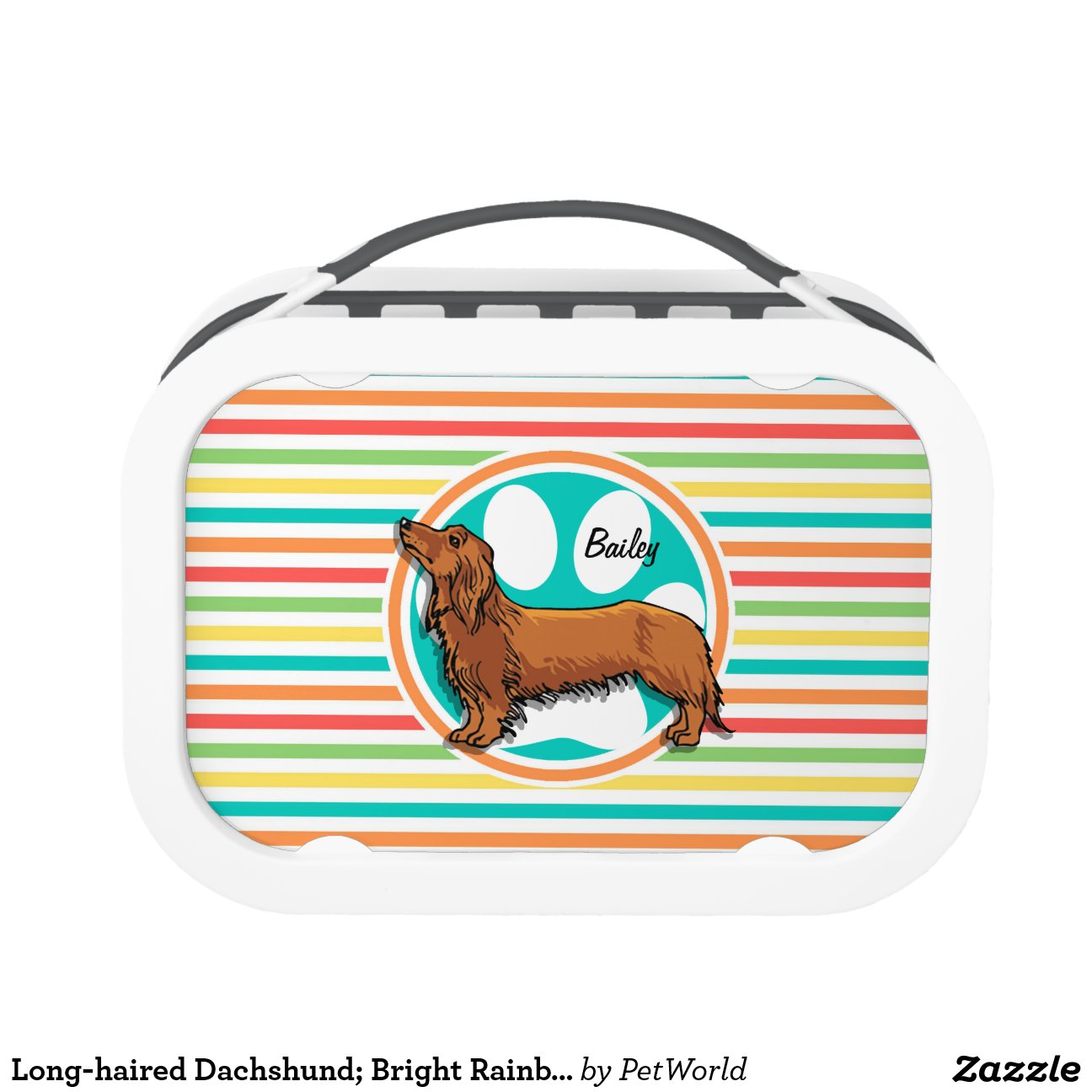 Long Haired Dachshund Bright Rainbow Stripes Lunch Boxes