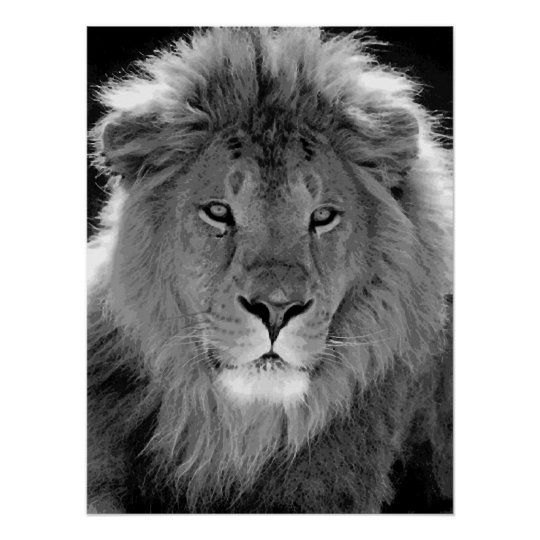 Motivational Leadership Lion Black White Poster Zazzle Com Au