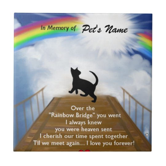 Rainbow Bridge Memorial Poem For Cats Tile Au