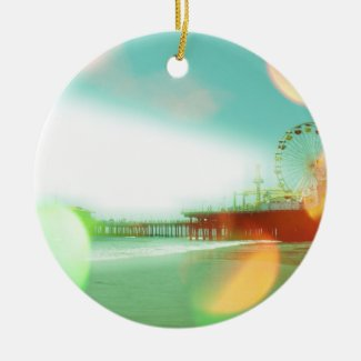 Santa Monica Pier Green Orange Sparkles Edit Ornament