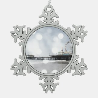 Santa Monica Pier Grey Sparkles Photo Edit Ornaments