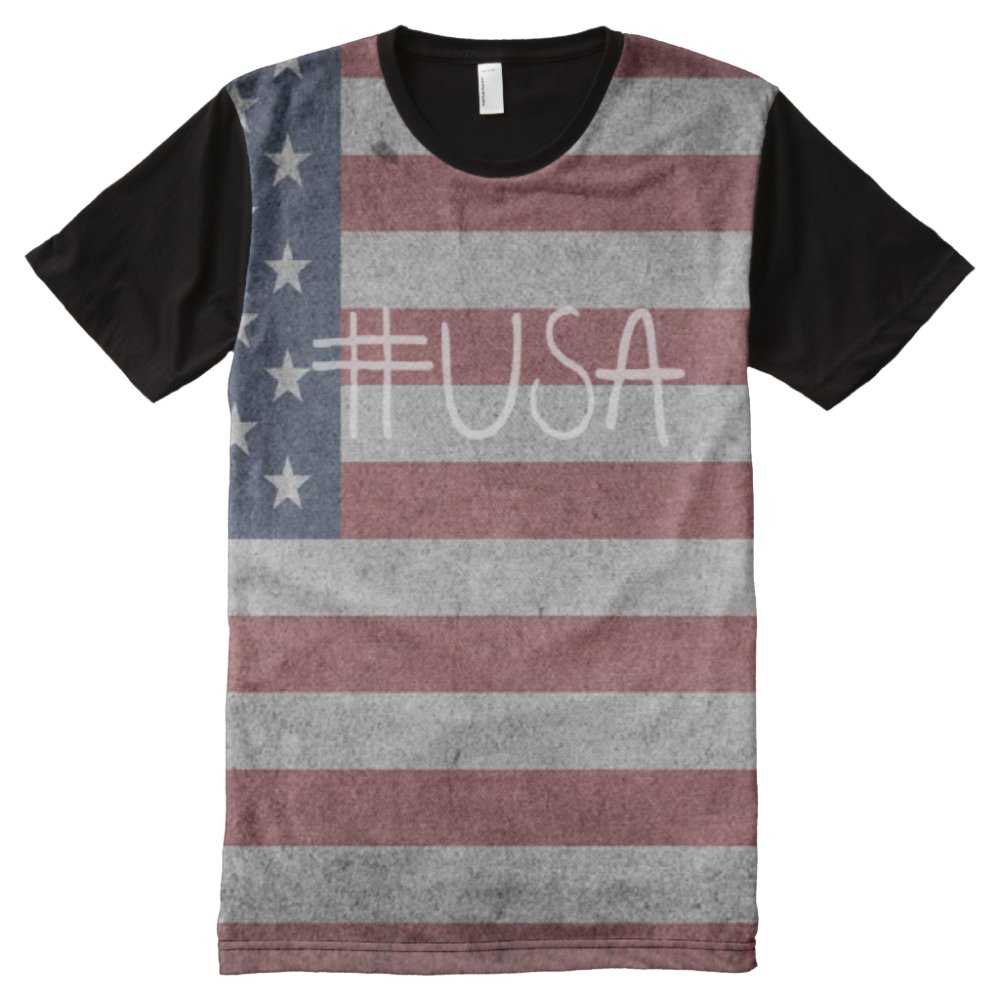 USA hashtag tshirt All-Over Print T-Shirt