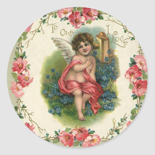 Vintage Valentines Day Victorian Angel On Phone Classic