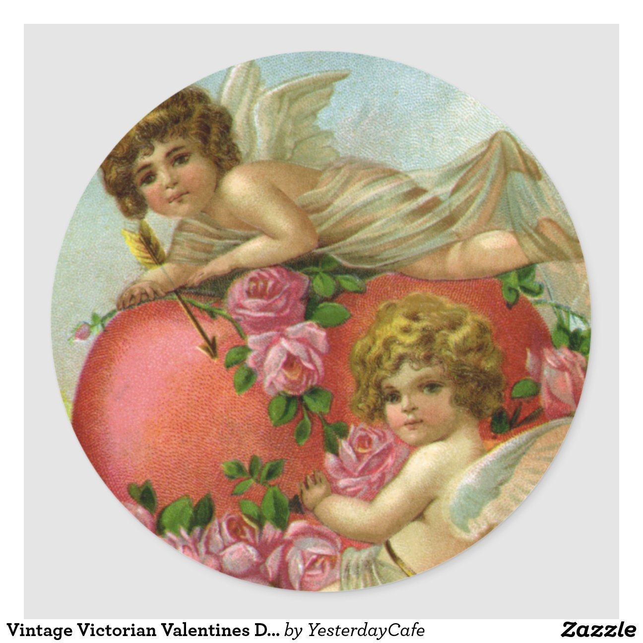 Vintage Valentines Day Victorian Angels Heart Rose Classic