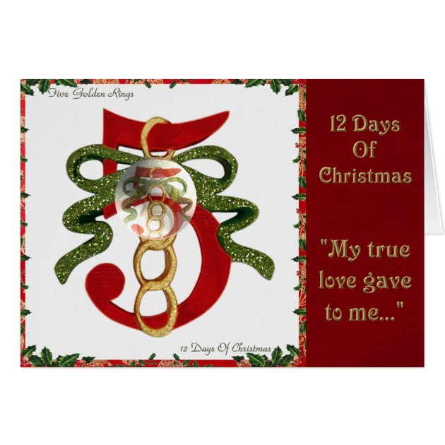 12 Days Of Christmas Five Golden Rings Card Zazzle