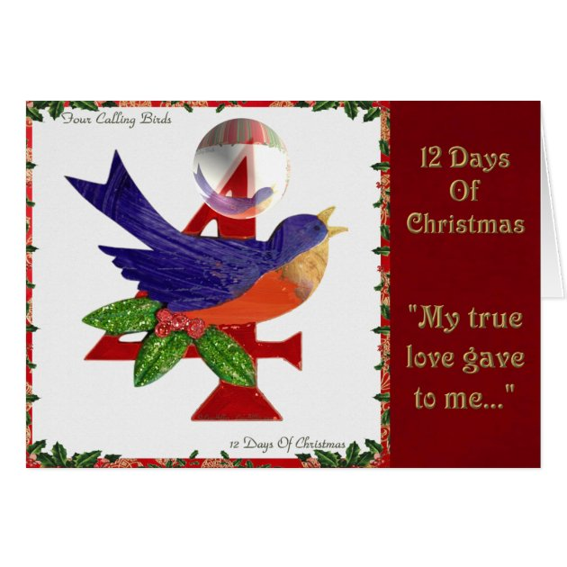 12 Days Of Christmas Four Calling Birds Card Zazzle