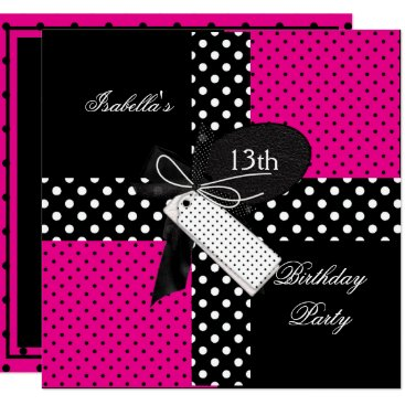 13th Birthday Polka Dot Hot Pink Black White Card