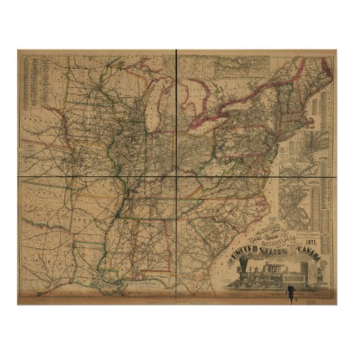 1871 Railroads and Distance Map of U.S. & Canada Poster