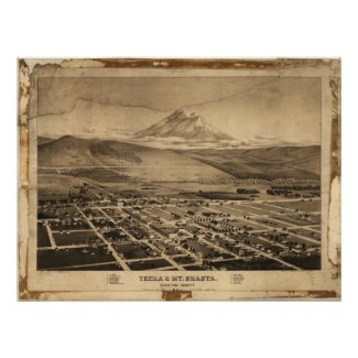 1884 Yreka Mt. Shasta CA Birds Eye Panoramic Map Poster