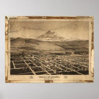 1884 Yreka Mt. Shasta CA Birds Eye Panoramic Map Poster