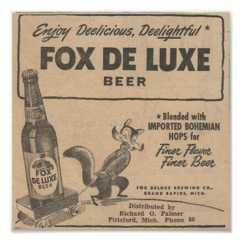 1948 Ad Fox DeLuxe Beer Poster