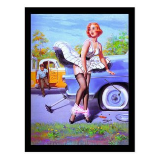 1950's Pin-up Girl Postcard