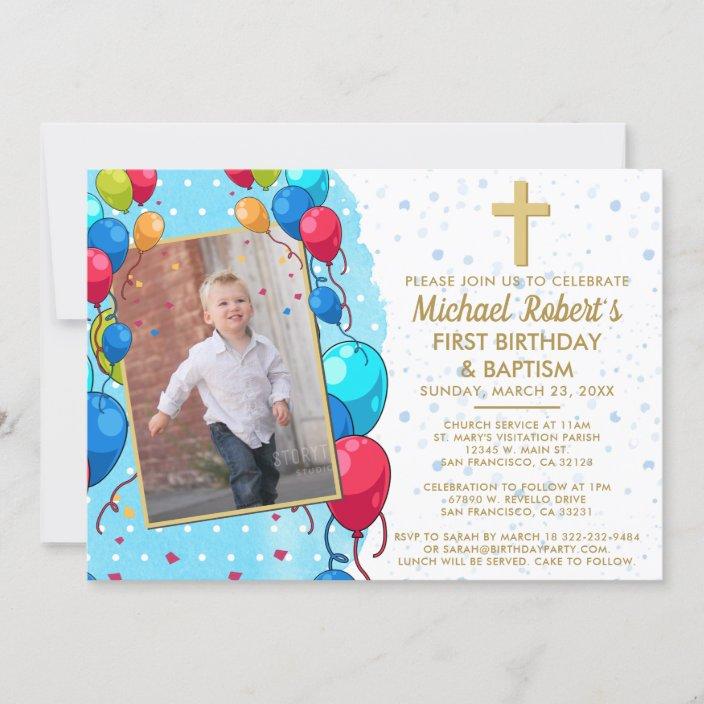 1st birthday baptism blue gold text photo balloons invitation zazzle com