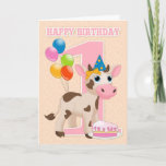 Sweet Little Cow, Cake & Balloon First Birthday Card (Available for ages 1-3)