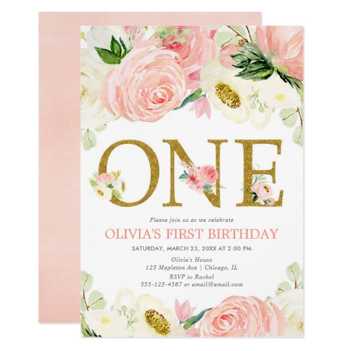 1st birthday girl, blush pink gold floral elegant invitation