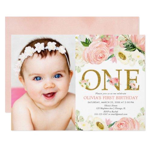 1st birthday girl, blush pink gold floral photo invitation