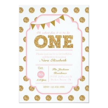 1st Birthday Invitation - pink and gold polka dots