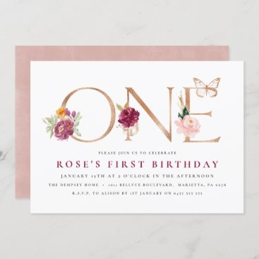 1st Birthday Invitations | Saffron Rose Butterfly